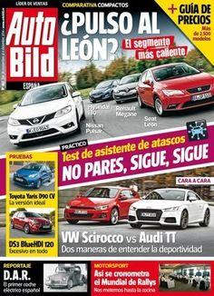 AUTO BILD, Nº 465. Nissan vuelve a luchar en el mundo de los compactos con el nuevo Pulsar, que se enfrenta al Seat León, el Hyundai i30 y el Renault Mégane en nuestra comparativa estrella. Y no es la única, porque también enfrentamos por primera vez al nuevo Audi TT contra el VW Scirocco. Dos coches que comparten motor TDI de 184 CV y son más que un capricho. ¿Sabías que en 1946 España ya desarrolló un coche eléctrico?