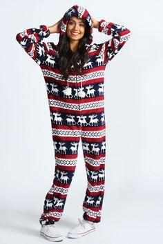 Rosie Reindeer Stripe Print Pom Pom Onesie - Roommate onesies 7dc9c1389