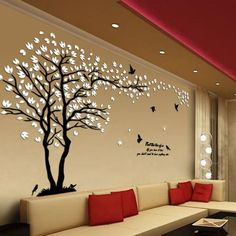 New arrival Lovers tree Acrylic crystal wall stickers DIY art wall decor stickers Living room tv sofa wall decoration Home Decor Bedroom, Living Room Decor, Living Room Wall Ideas, Living Room Sofa Design, Decor Room, Diy Bedroom, Bedroom Ideas, Rustic Home Decor Cheap, Tree Wall Art