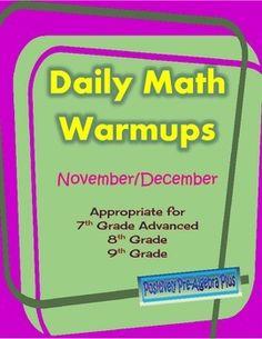 Daily Warmups for Common Core Math March/April Junior High Math, Math Tutorials, Teaching Math, Teaching Ideas, Daily Math, Secondary Math, 8th Grade Math, Classroom Activities, Classroom Ideas