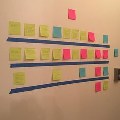 """Struggling with Act II of Angellove so it's back to """"The Board."""" Screenwriting friends will recognize this from Save the Cat. I just make mine with painter's tape and colored post-it notes instead of index cards on a bulletin board. #amwriting #authorproblems #writersofinstagram #authorsofinstagram #screenwriting #yalit #angelhood #storyboard #savethecat"""