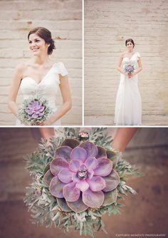 Breathtaking Wedding Bouquet: On massively marvelous succulent with dusty miller. Click to blog for more gorgeous bouquet ideas.  http://www.confettidaydreams.com/breathtaking-wedding-bouquets/ ♥ Pics: Captured Moments Photography ♥