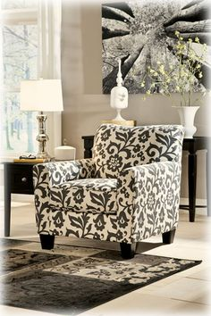 I Love The Use Of A Patterned Chair To Spice Up Simple Black And White Living Room