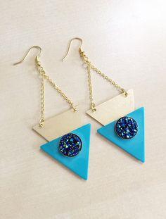 Geometric Druzy Earrings  Vintage Acrylic Aqua by BlueButtonBoho