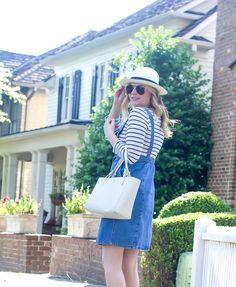 Denim overalls, summer outfit inspiration, stripes, preppy, nautical outfit, white handbag