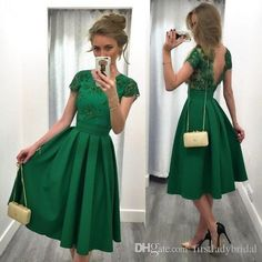 Cheap Jade Green Short Homecoming Dresses 2016 Lace Appliques Cap Sleeves Party Gowns Backless Pleats Satin Vintage Knee Length Prom Dress