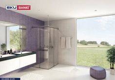 EKU-BANIO is the premiere sliding solution for upscale all-glass showers. EKU-BANIO moves up to 40 kg glass doors in recessed spaces or for corner solutions. Glass Shower, Glass Door, Bathtub, Mirror, Bathroom, Furniture, Home Decor, Standing Bath, Bath Room