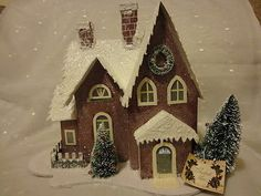 Putz House LED lighted Glitter Red House