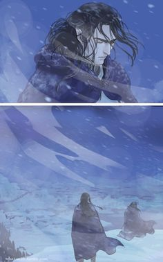 Turgon (top) and Fingon goes to comfort Turgon (bottom)