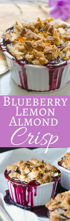 blueberry crisp with a citrusy blueberry filling topped with crisp almond crumble.