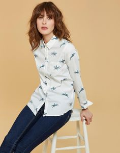 Lucie Cream Horse Classic Fit Shirt | Joules UK