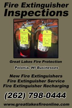 Fire Extinguisher Inspections Polonia, WI (262) 798-0444.. Local Wisconsin Businesses you have found the complete source for Fire Protection. Fire Extinguishers, Fire Extinguisher Service.. We're got you covered.. Great Lakes Fire Protection