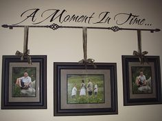 ~Family portraits on the wall are beautiful~Love using a tapestry rod to hang portraits with lettering