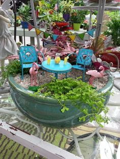 Fairy garden - must find flamingo's for my fairy garden!!! and LOVE these chairs.