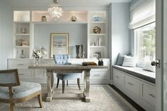 Everything about this home office. 20 Amazing Home Office Design Ideas Love the built in cabinets and the window seat! Home Office Storage, Home Office Space, Home Office Design, Home Office Decor, Home Decor, Office Cubicles, Office Designs, Office Organization, Office Setup