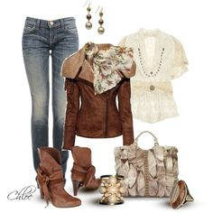 """""""Leather Jacket and Jeans"""" by chloe-813 on Polyvore"""