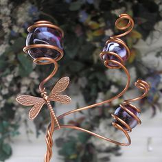 Dragonfly Plant Stake Copper Garden Art Metal Glass Yard Decor Handmade Violet