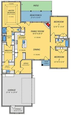1498 sq ft Small House with Giant Living Area - floor plan - Main Level Acadian House Plans, Southern House Plans, New House Plans, Dream House Plans, Southern Homes, Small House Plans, The Plan, How To Plan, Master Suite