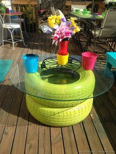 backyard seating from tires