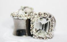 Crystal Wedding Plugs And Necklace Set 0 00 Gauge 8mm 10mm. $65.00, via Etsy.