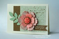 Stampin' Up! Stampin' Supplies;  Stamps:  Dictionary, Gorgeous Grunge, Banner Greetings; Ink:  Baked Brown Sugar, Crisp Cantaloupe; Paper:  Pistachio Pudding, Crisp Cantaloupe, Baked Brown Sugar, Very Vanilla, Venetian Romance DSP, Watercolor paper; Accessories:  Secret Garden Framelits, Pansy Punch, Boho Blossoms Punch, Blossom Punch, In Color Boutique Details