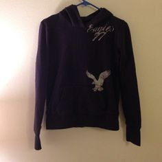 AEO Navy Hoodie This hoodie was very well loved and remains one of my favorites. I'm still not entirely sure I want to part with it so please ask me before purchasing or placing an offer. Price is set to lower in case I fully decide to sell. American Eagle Outfitters Tops Sweatshirts & Hoodies