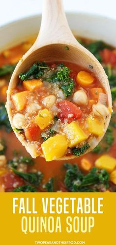 Fall Vegetable Quinoa Soup-this healthy one-pot soup is the perfect meal for a chilly day! The soup is loaded with veggies: butternut squash sweet potatoes kale carrots celery and tomatoes. All of the veggies combined make a beautiful and healthy so Healthy Fall Soups, Vegan Soups, Easy Soup Recipes, Cooking Recipes, Healthy Recipes, Easy Veggie Soup, Veggie Soup Recipes, Healthy Vegtable Soup, Health Soup Recipes