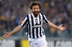 Andrea Pirlo of Juventus celebrates scoring the first goal during the UEFA Europa League quarter final match between Juventus and Olympique ...