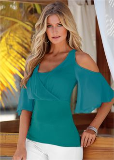 Sheer cold shoulder top from VENUS women's swimwear and sexy clothing. Order Sheer cold shoulder top for women from the online catalog or Trendy Tops, Cute Tops, Women's Tops, Casual Tops, Tank Tops, Vestido Casual, Look Chic, Dress To Impress, Ideias Fashion