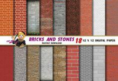 Bricks and Stones digital paper brick paper old by CutOutAndPlay