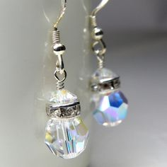 Crystal Earrings Swarovski Drop Sterling Silver by fineheart, $18.00