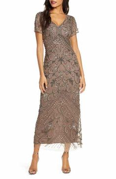 Beaded Mesh Column Gown   Nordstrom Mother Of Bride Outfits, Mother Of Groom Dresses, Mothers Dresses, Mother Of The Bride, Mob Dresses, Tea Length Dresses, Bridesmaid Dresses, Short Sleeve Dresses, Bride Dresses