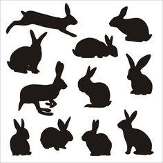 rabbit cute silhouettes vectors
