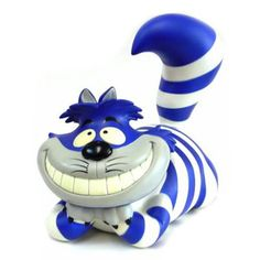Produced in a limited quantity, the Cheshire Cat measures features a GID mouth and eyes, and comes in its own white/blue stripe. Goodbye Kitty, Play Shop, Were All Mad Here, Opening Day, Designer Toys, Cheshire Cat, Minimalist Art, Blue Moon, Cat Art