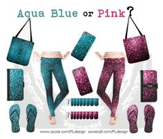 """Aqua Blue or Pink Sparkles"" by pldesign ❤ liked on Polyvore"