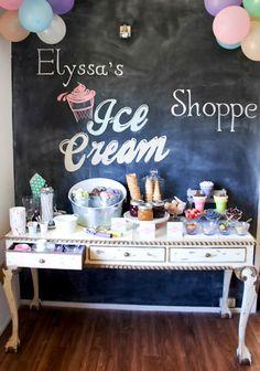 Ice Cream themed birthday party FULL of CUTE IDEAS via Kara's Party Ideas | KarasPartyIdeas.com #icecreamshoppe…