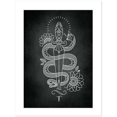 Snake Dagger Tattoobular Line Design Series, Neo-Traditional Tattoo... ($28) ❤ liked on Polyvore featuring home, home decor, wall art, traditional wall art, traditional home decor and tattoo wall art