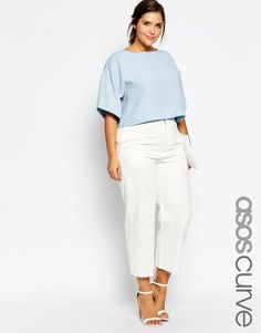 ASOS CURVE High Waist Wide Leg Jeans in White