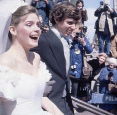 March 14, 1981:  Victoria Gifford and Michael L. Kennedy depart for their wedding dinner and dance, following their mass and ceremony.