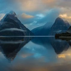 Beautiful moody mornings in Milford Sounds, New Zealand