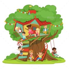 Buy Children Playing and Having Fun in the Treehouse by Top_Vectors on GraphicRiver. Children playing and having fun in the treehouse, kids playground with swing and ladder colorful detailed vector Illu. Nemo Coloring Pages, Beach Illustration, Cartoon Clouds, Nature Vector, Creative Class, Kids Playing, Have Fun, Graphic Design, Treehouse Kids
