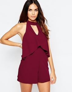 ASOS Halter Playsuit with Double Layer