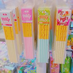 Pocky pencil I like how all of these Pocky pencils have weird butchering of the word 'Pocky.' PENCY THO And as for the pencils,I really REALLY want them so badly aaaahhhh