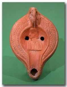 Roman Oil Lamp With Bust Of Youth, 2nd Century A.D.
