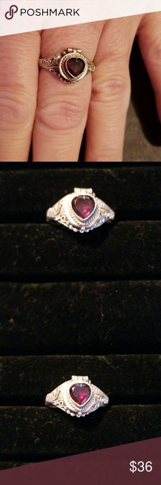 .925 Sterling Silver Red Heart Ring Good pre-owned condition. Jewelry Rings