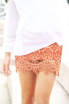 Everything Fabulous : perfect coral lace skirt Lace Mini Skirts, Cute Skirts, Lace Skirt, Coral Skirt, Orange Skirt, Short Skirts, Fitted Skirt, Lace Dress, Mode Style