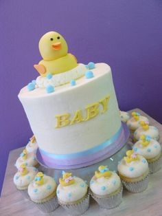 Baby Shower Cupcakes and Cake