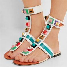 67.65$  Buy now - http://ali4v8.worldwells.pw/go.php?t=32756169879 - Hot Lastest Rome Boho Style Flat Sandals Flip Flops Colorful Rivets Gladiator Sandals Women Summer Shoes Woman Sandalias Mujer 67.65$