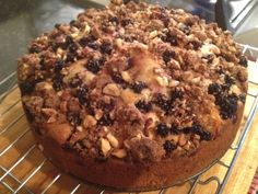 Blackberry and apple cake with a hazelnut crumble topping
