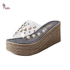 LQXZM Sandales femmes Confort d'été en plein air de PU Marcher Creepers Imitation Pearl Beige noir,Black,US5.5 / EU36 / UK3.5 / CN35 - Chaussures lqxzm (*Partner-Link)
